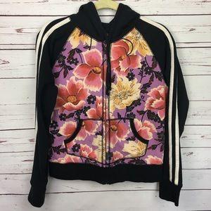 Lucky Brand Floral Zip Up Hooded Sweatshirt Hoodie